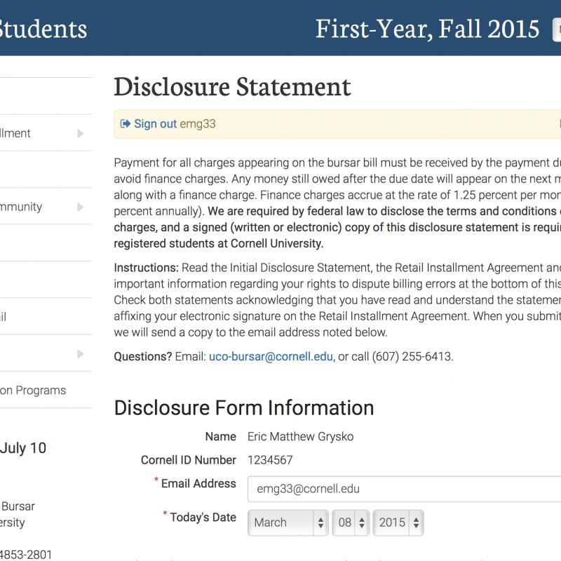 Bursar Disclosure Statement